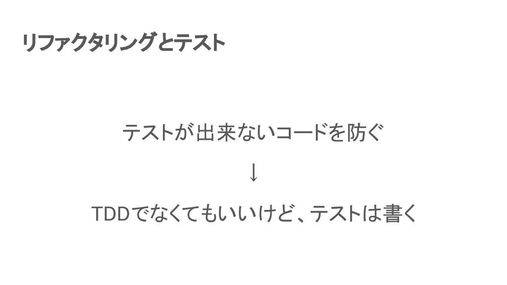 リファクタリングとテスト テストが出来ないコードを防ぐ ↓ TDDでなくてもいいけど、テ...