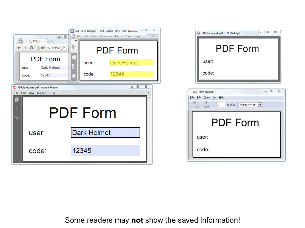Some readers may not show the saved information!