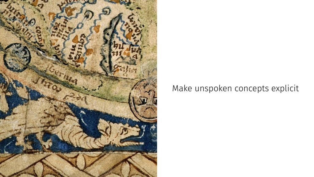 Make unspoken concepts explicit