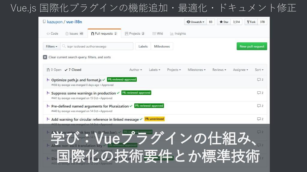 Vue.js 国際化プラグインの機能追加・最適化・ドキュメント修正 学び:Vueプラグインの仕...