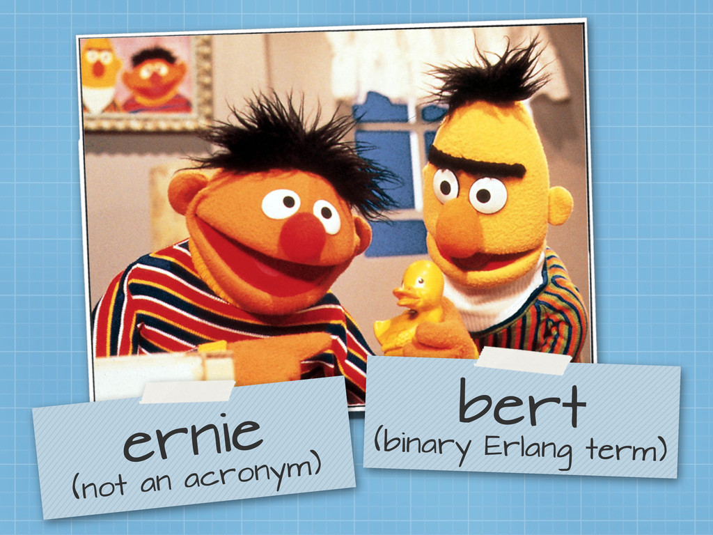 bert (binary Erlang term) ernie (not an acronym)