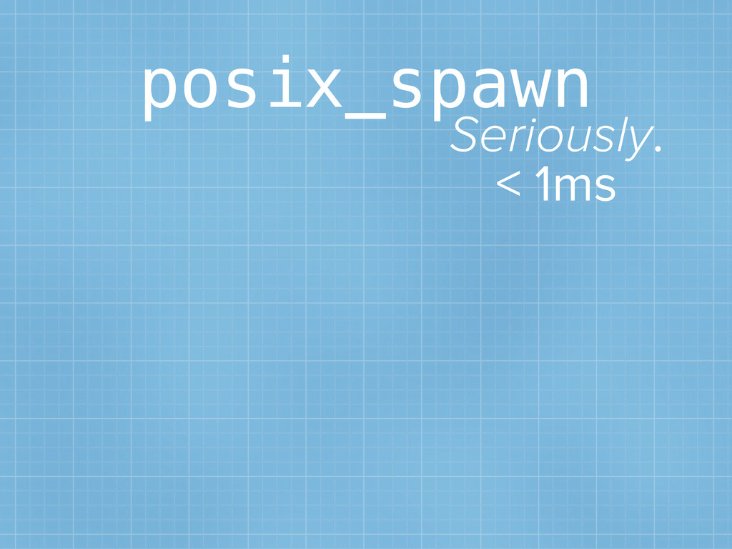 posix_spawn Seriously. < 1ms