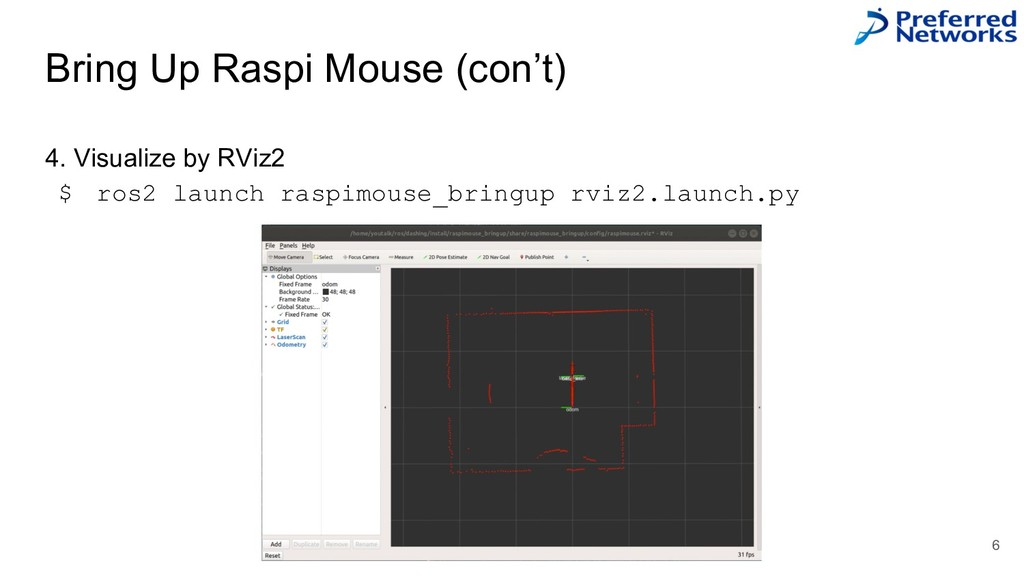 Bring Up Raspi Mouse (con't) 4. Visualize by RV...