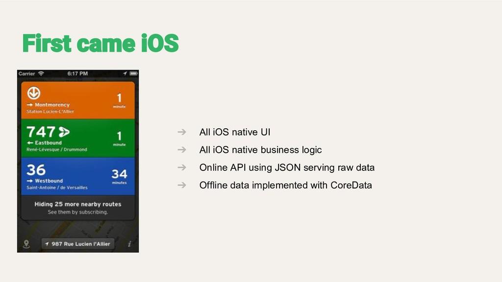 ➔ All iOS native UI ➔ All iOS native business l...