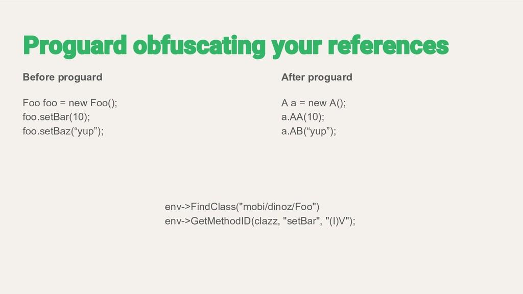 Before proguard Foo foo = new Foo(); foo.setBar...