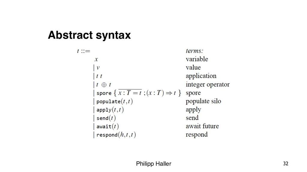Philipp Haller 32 Abstract syntax