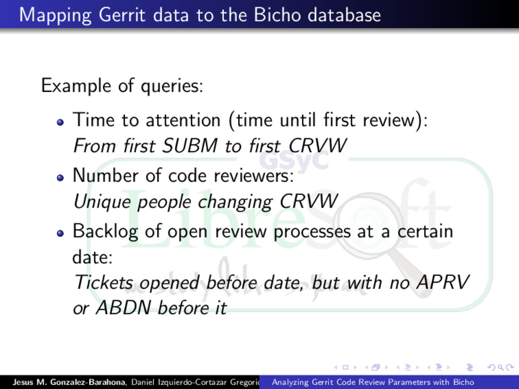 Mapping Gerrit data to the Bicho database Examp...