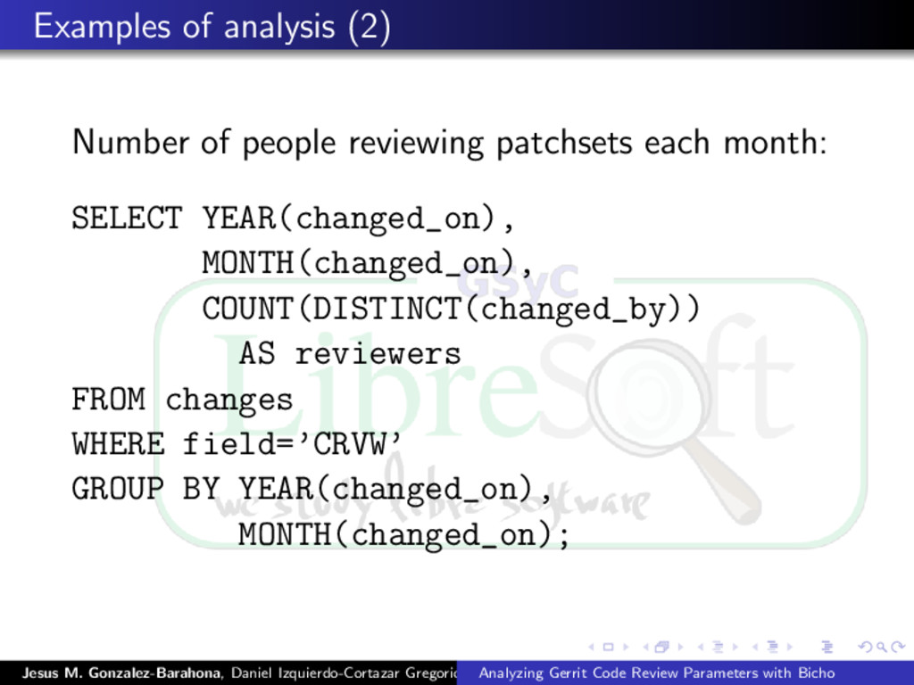 Examples of analysis (2) Number of people revie...