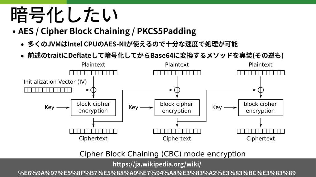 暗号化したい • AES / Cipher Block Chaining / PKCS Pad...