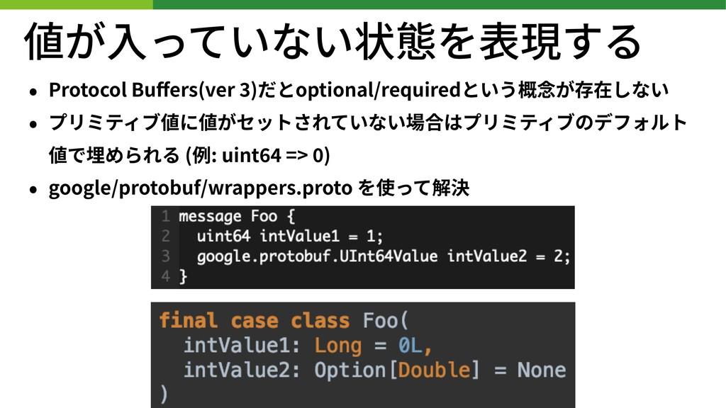 値が⼊っていない状態を表現する • Protocol Buffers(ver )だとoption...