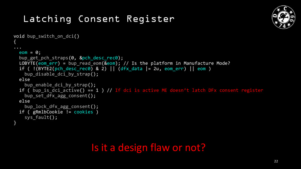 Latching Consent Register void bup_switch_on_dc...