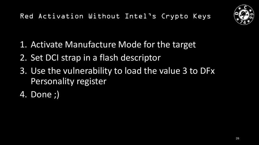 Red Activation Without Intel's Crypto Keys 1. A...