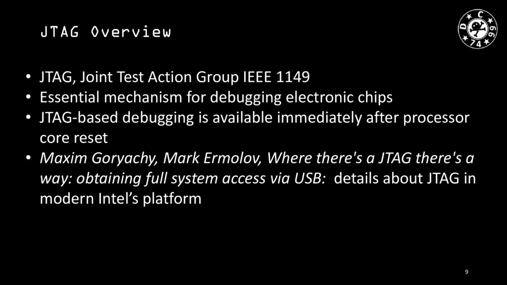 JTAG Overview • JTAG, Joint Test Action Group I...