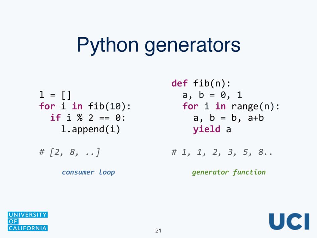 Python generators def fib(n):    a,...
