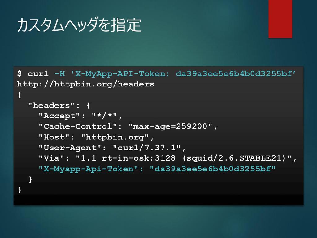 $ curl -H 'X-MyApp-API-Token: da39a3ee5e6b4b0d3...