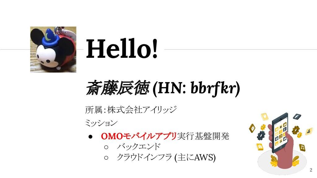 斎藤辰徳 (HN: bbrfkr) Hello! 2 所属:株式会社アイリッジ ミッション ●...