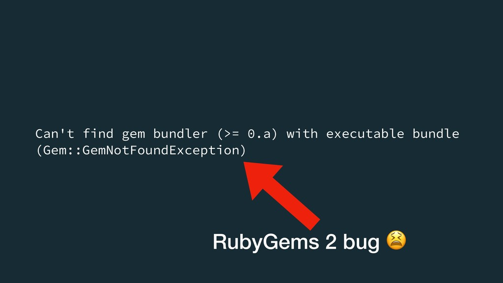 Can't find gem bundler (>= 0.a) with executable...