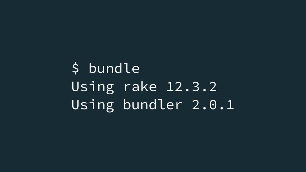 $ bundle Using rake 12.3.2 Using bundler 2.0.1