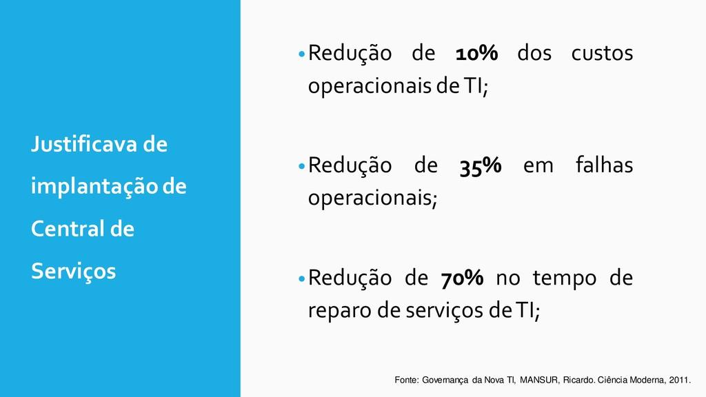 •Redução de 10% dos custos operacionais deTI; •...