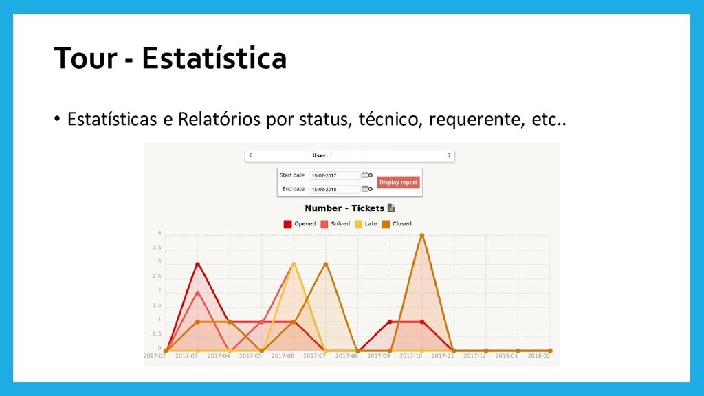 Tour - Estatística • Estatísticas e Relatórios ...
