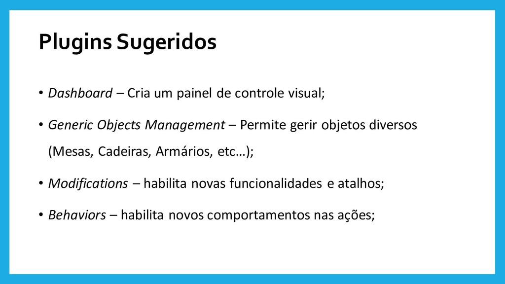 Plugins Sugeridos • Dashboard – Cria um painel ...