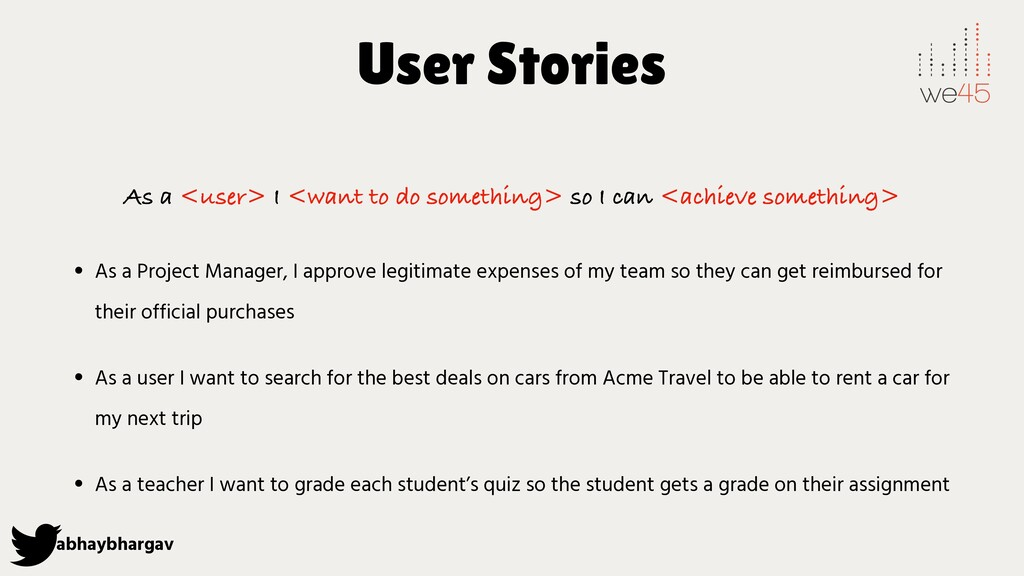 abhaybhargav User Stories As a <user> I <want t...