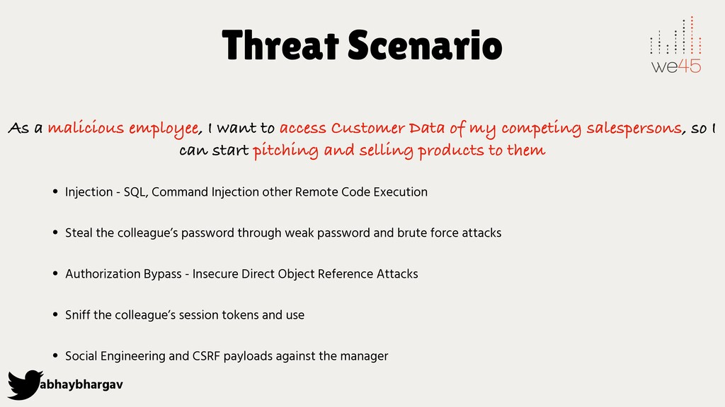 abhaybhargav Threat Scenario As a malicious emp...