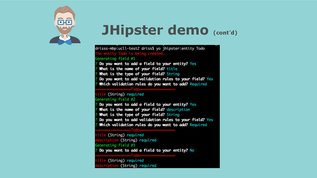 JHipster demo (cont'd)