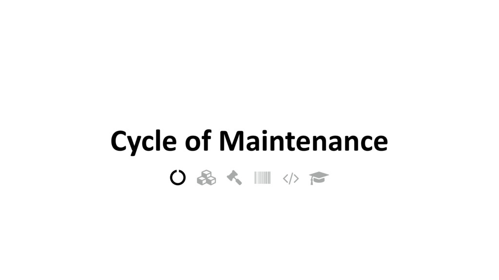 "Cycle of Maintenance ! "" # $ % &"