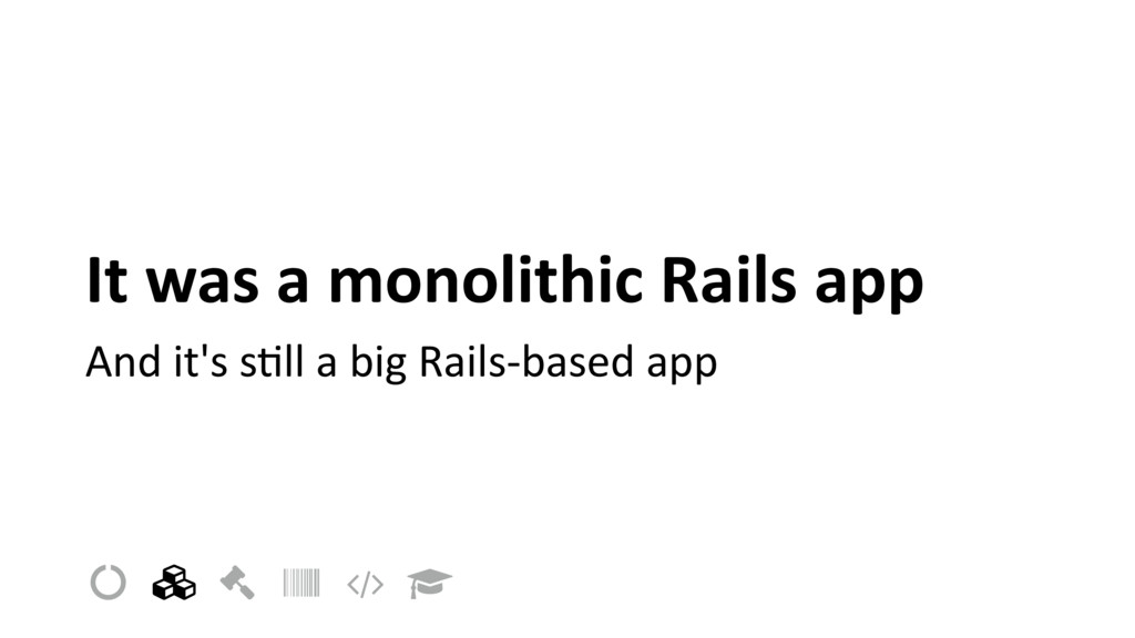 It was a monolithic Rails app And it's sIll a b...