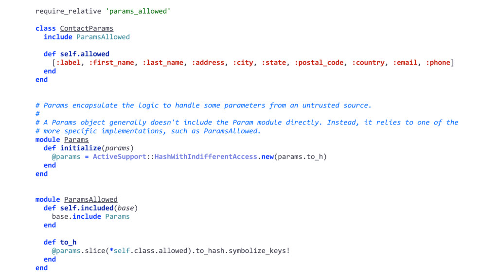 require_relative 'params_allowed' class Contact...