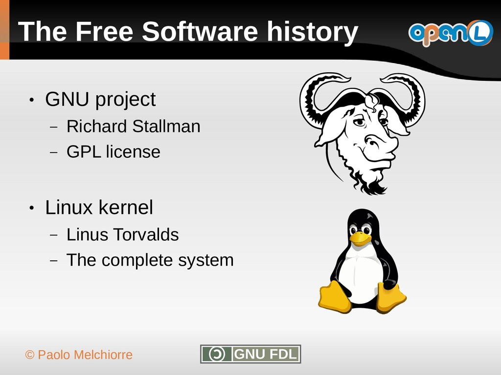 © Paolo Melchiorre The Free Software history ● ...