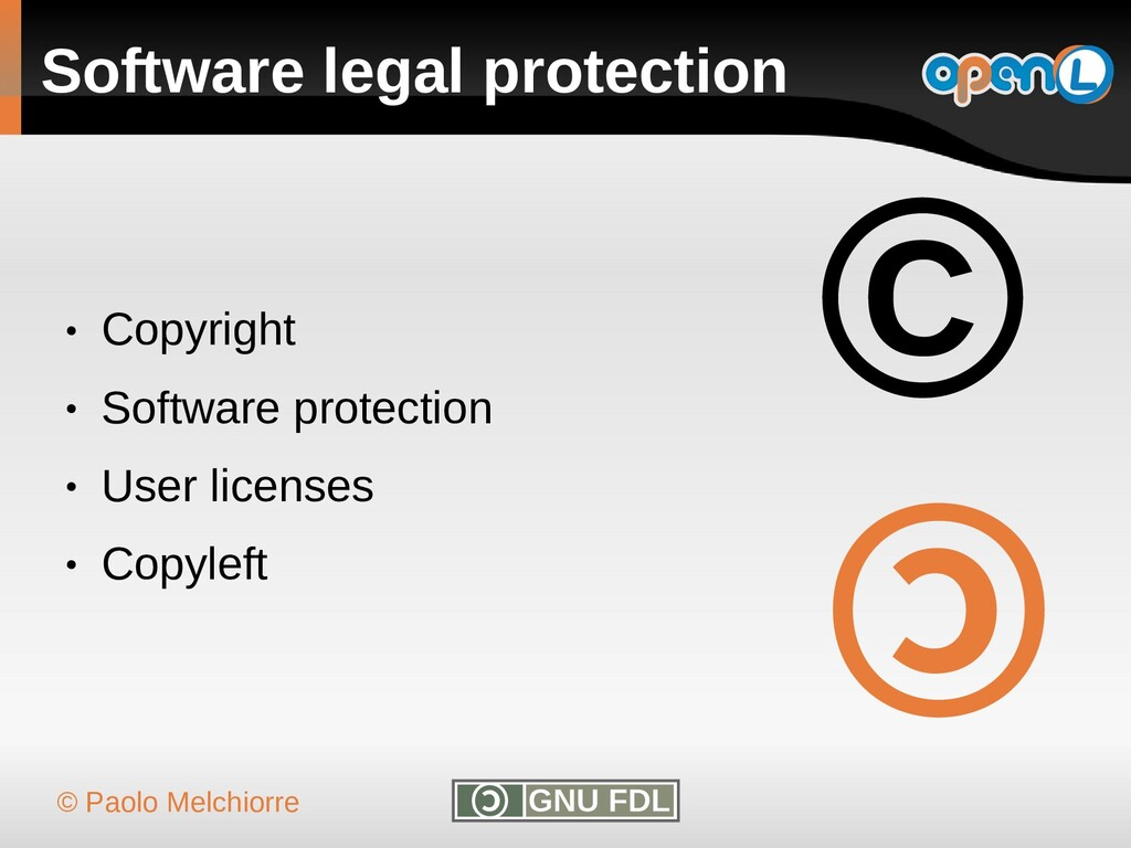 © Paolo Melchiorre Software legal protection ● ...
