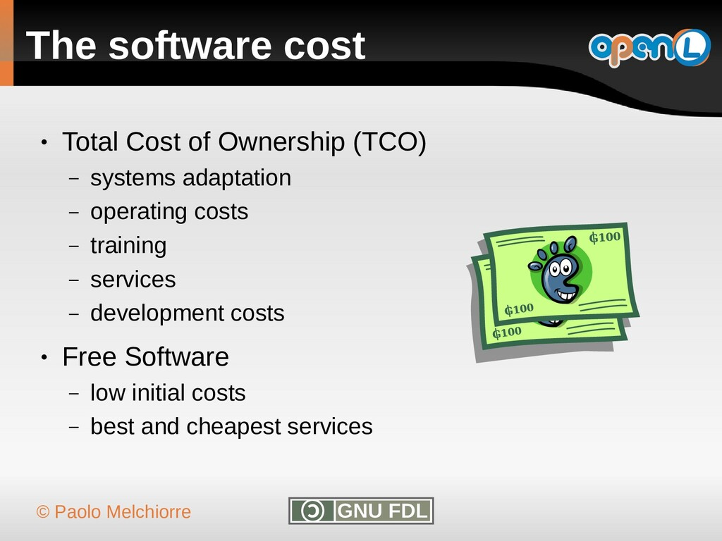 © Paolo Melchiorre The software cost ● Total Co...