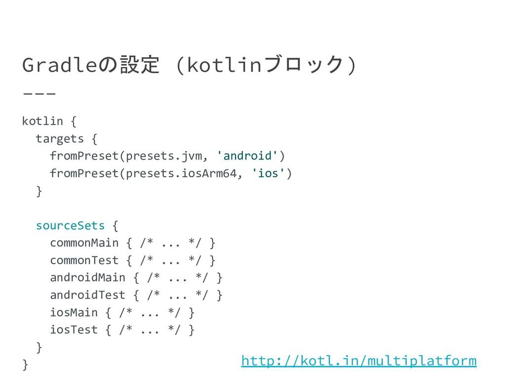 Gradleの設定 (kotlinブロック) kotlin { targets { fromP...