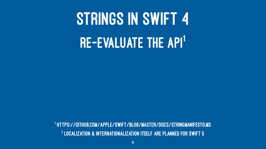 STRINGS IN SWIFT 4 RE-EVALUATE THE API1 2 Local...