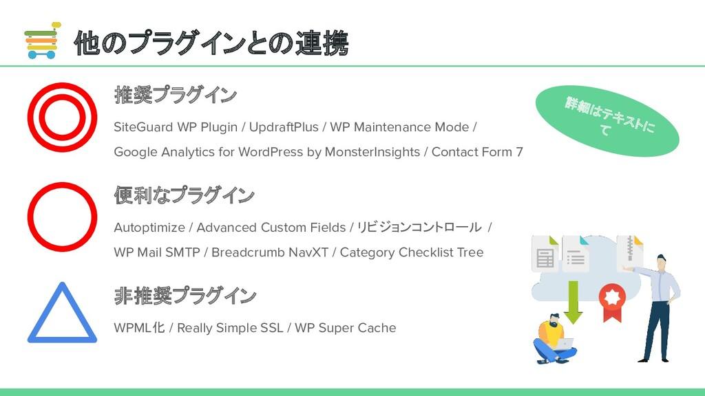 他のプラグインとの連携 推奨プラグイン SiteGuard WP Plugin / Updra...