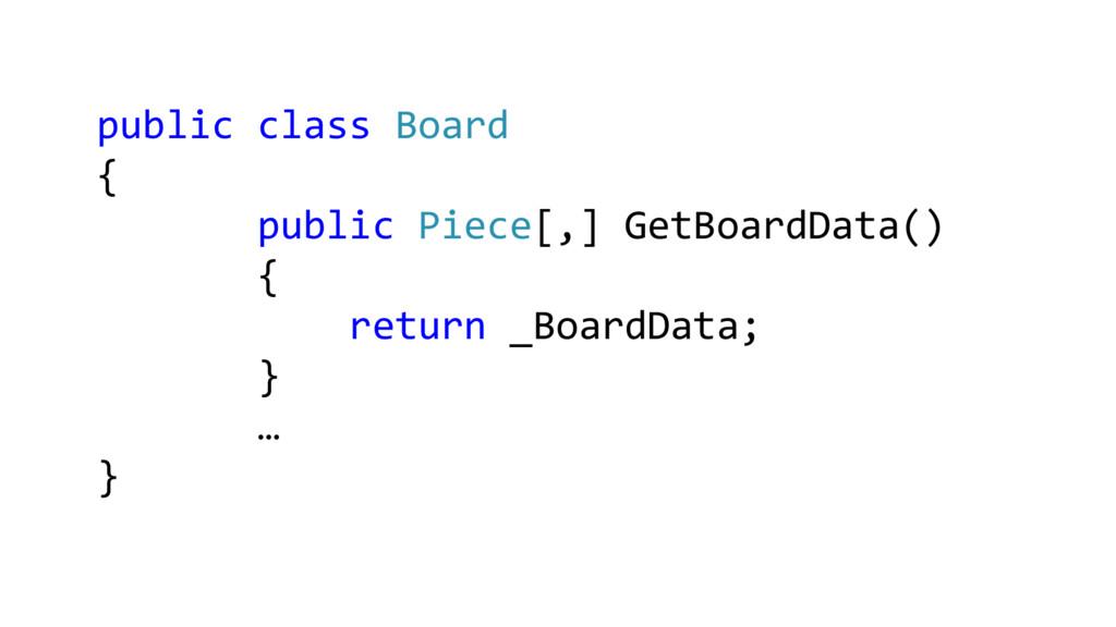 public class Board { public Piece[,] GetBoardDa...