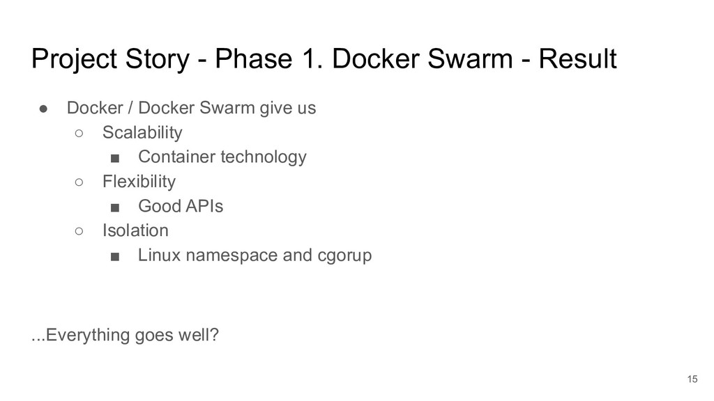 Project Story - Phase 1. Docker Swarm - Result ...