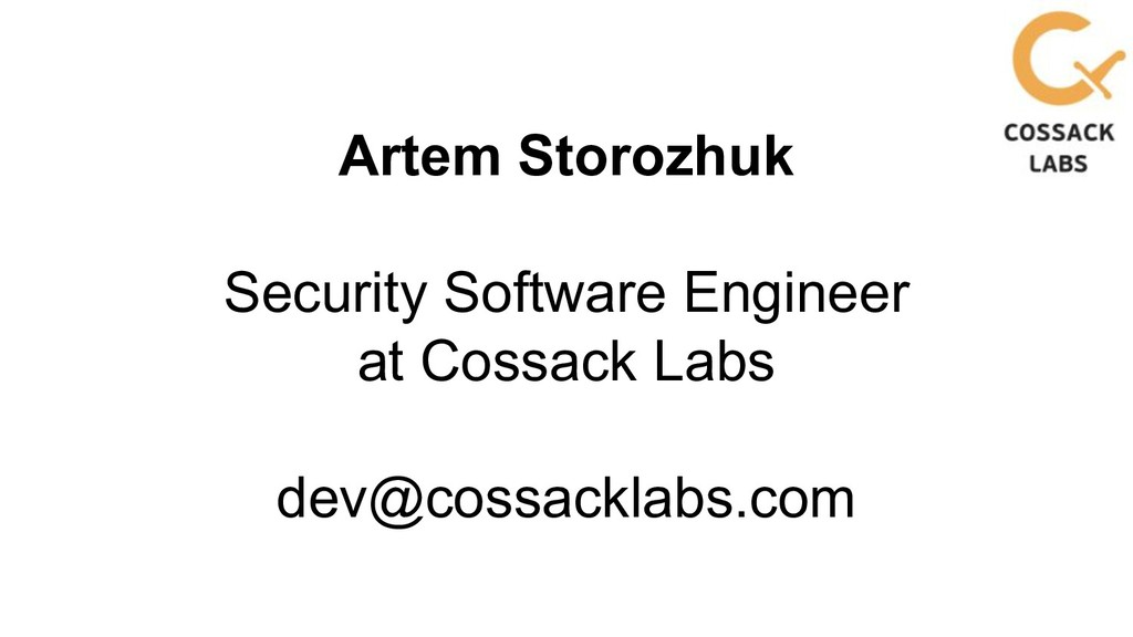 Artem Storozhuk Security Software Engineer at C...