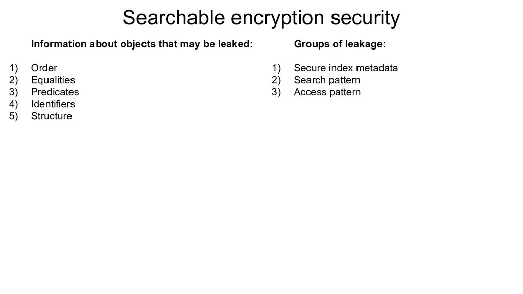 Searchable encryption security Information abou...