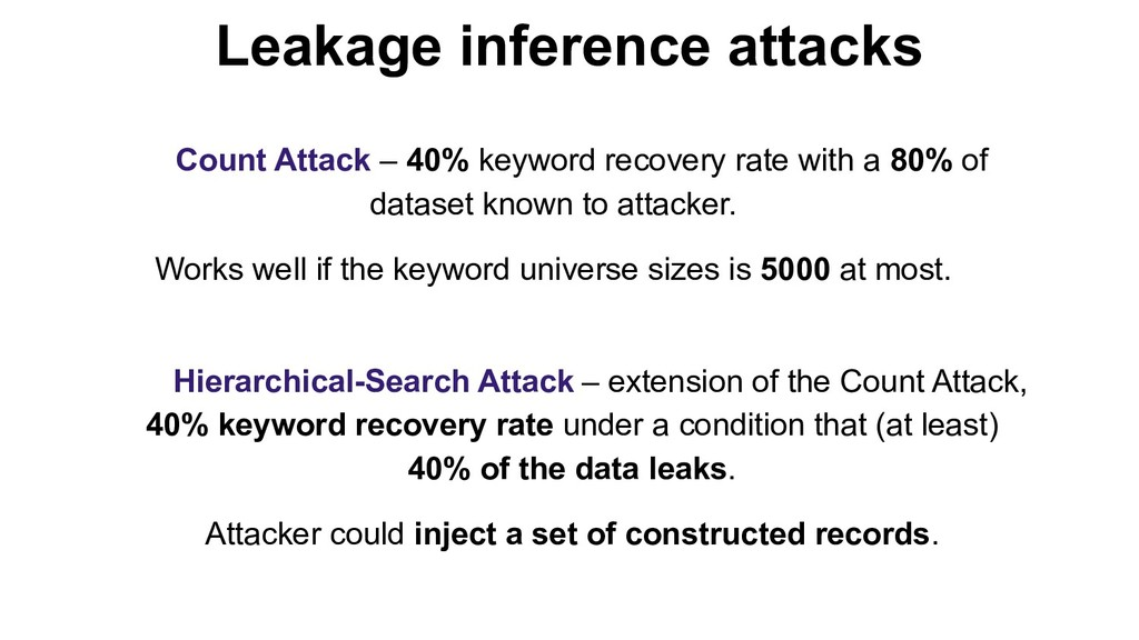 Count Attack – 40% keyword recovery rate with a...