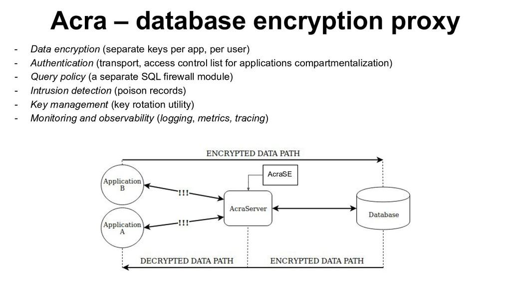 Acra – database encryption proxy AcraSE - Data ...