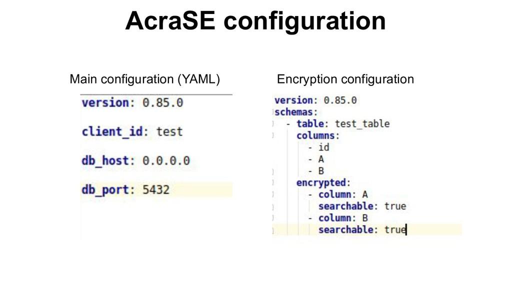 AcraSE configuration Main configuration (YAML) ...