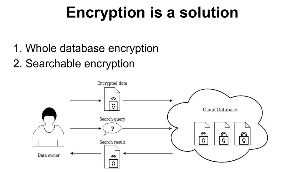 Encryption is a solution 1. Whole database encr...