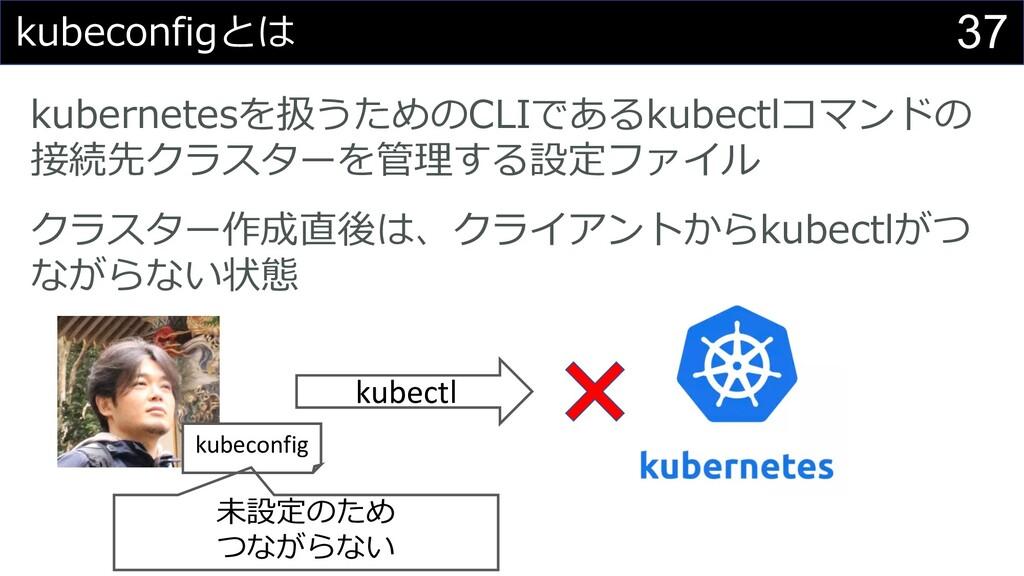 37 kubeconfigとは kubernetesを扱うためのCLIであるkubectlコマ...