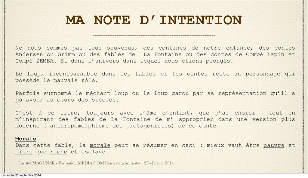 MA NOTE D'INTENTION Christel MAGUNAR - Formatio...