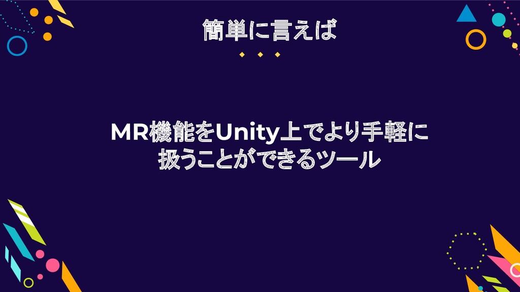 MR機能をUnity上でより手軽に 扱うことができるツール 簡単に言えば