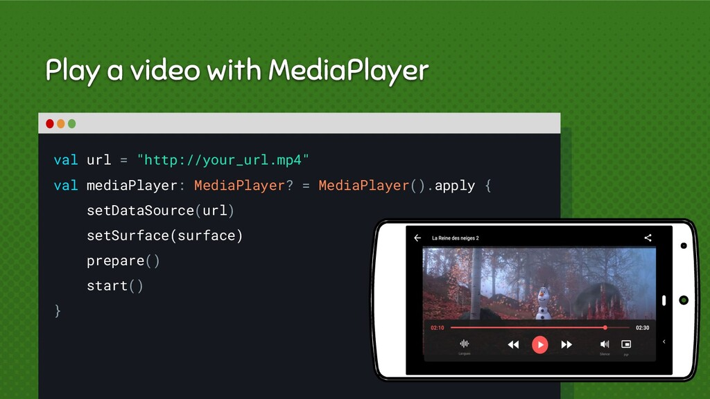 """Play a video with MediaPlayer val url = """"http:/..."""