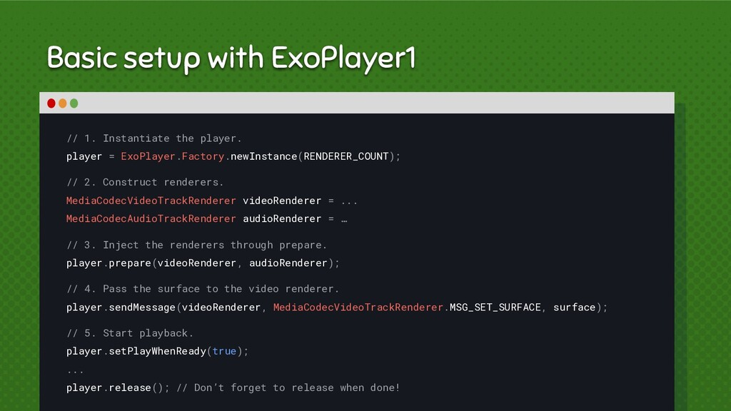 Basic setup with ExoPlayer1 // 1. Instantiate t...